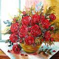 Róże, obraz olejny.