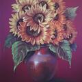 Słoneczniki, suche pastele na kartonie 70x50 cm