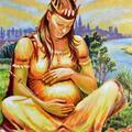 Królowa Jadwiga - macierzyństwo, obraz olejny 50x60 cm