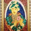 Dama Retro- mozaika z kamieni półszlachetnych