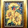 Słoneczniki- mozaika z kamieni półszlachetnych