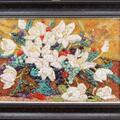 Magnolie- mozaika z kamieni półszlachetnych