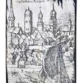 Szczecin - fragment panoramy. Grawerowany obraz.