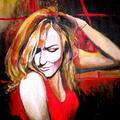 Red Lady, 72 x 92 cm , akryl na płótnie, zamalowane boki