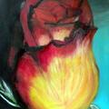 Róża, 30 x 42 cm, karton, akryl + olej
