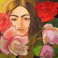 Twarz w kwiatach, 39,6 x 39,6 cm, karton, pastele olejne